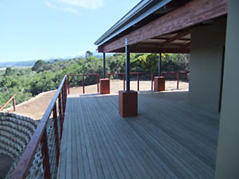 Decking with stainless steel cable in handrails